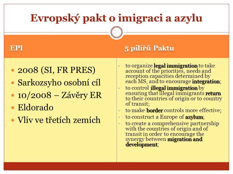 EPI 5 pilířů Paktu 2008 (SI, FR PRES) Sarkozsyho osobní cíl 10/2008 – Závěry ER Eldorado Vliv ve třetích zemích legal immigration integration to organ