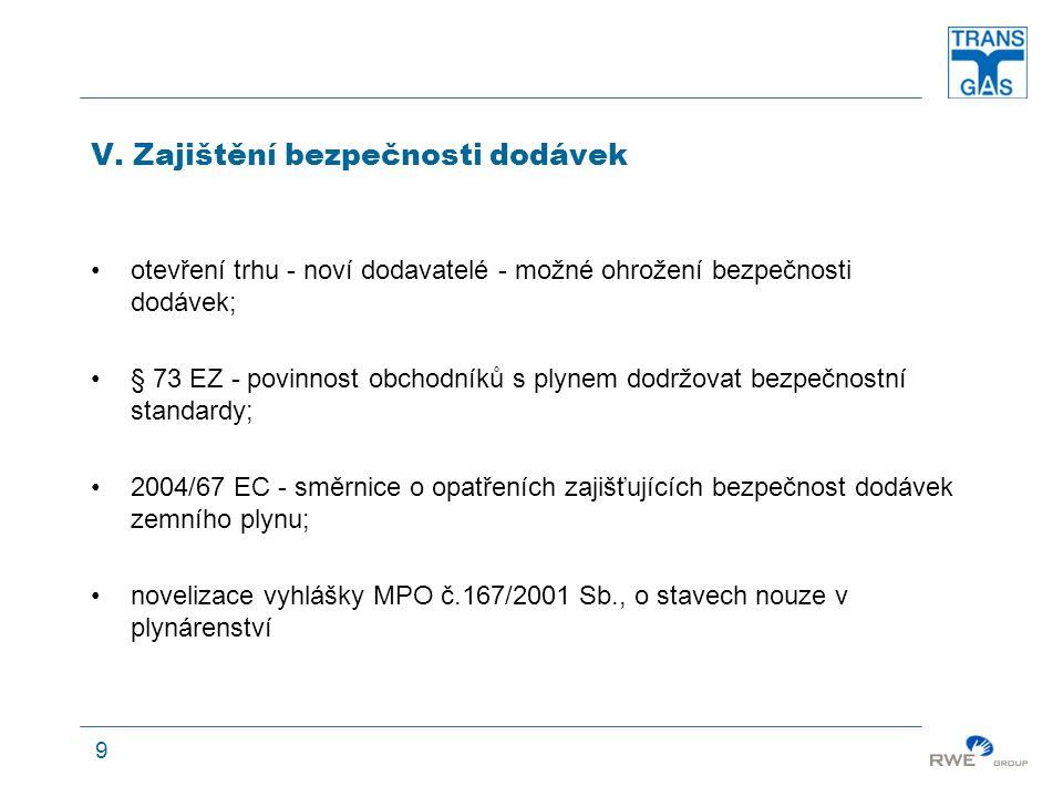 9 V. Zajištění bezpečnosti dodávek otevření trhu - noví dodavatelé - možné ohrožení bezpečnosti dodávek; § 73 EZ - povinnost obchodníků s plynem dodrž