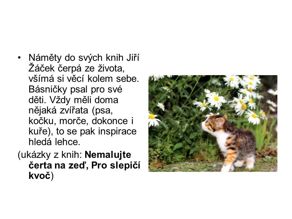 Náměty do svých knih Jiří Žáček čerpá ze života, všímá si věcí kolem sebe. Básničky psal pro své děti. Vždy měli doma nějaká zvířata (psa, kočku, morč