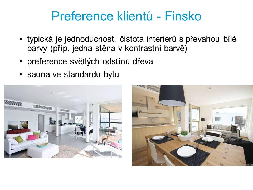 Preference klientů - Finsko typická je jednoduchost, čistota interiérů s převahou bílé barvy (příp. jedna stěna v kontrastní barvě) preference světlýc