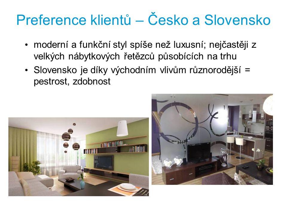 Preference klientů – Česko a Slovensko moderní a funkční styl spíše než luxusní; nejčastěji z velkých nábytkových řetězců působících na trhu Slovensko