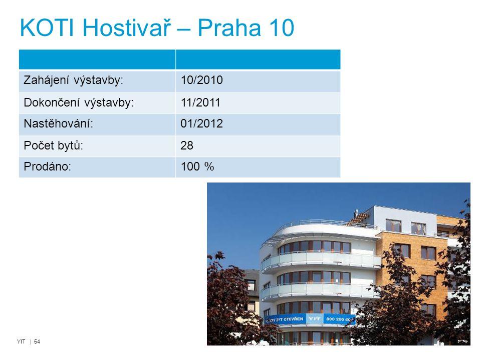 YIT | 54 KOTI Hostivař – Praha 10 Zahájení výstavby:10/2010 Dokončení výstavby:11/2011 Nastěhování:01/2012 Počet bytů:28 Prodáno:100 %