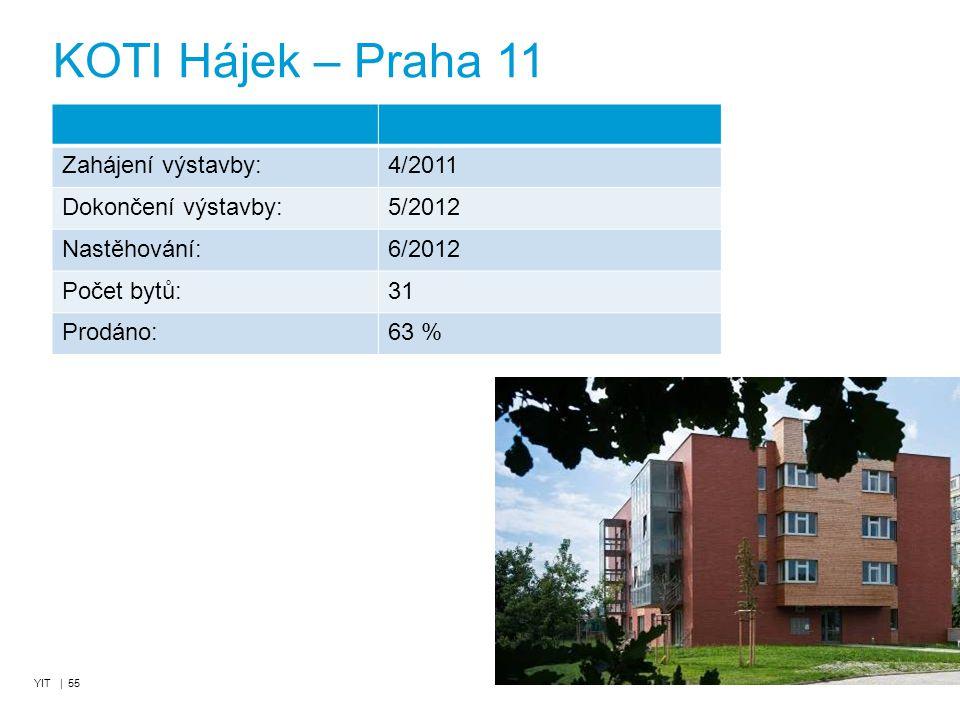 YIT | 55 KOTI Hájek – Praha 11 Zahájení výstavby:4/2011 Dokončení výstavby:5/2012 Nastěhování:6/2012 Počet bytů:31 Prodáno:63 %