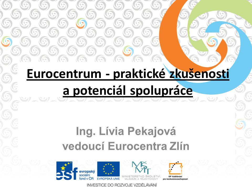 Eurocentrum - praktické zkušenosti a potenciál spolupráce Ing. Lívia Pekajová vedoucí Eurocentra Zlín