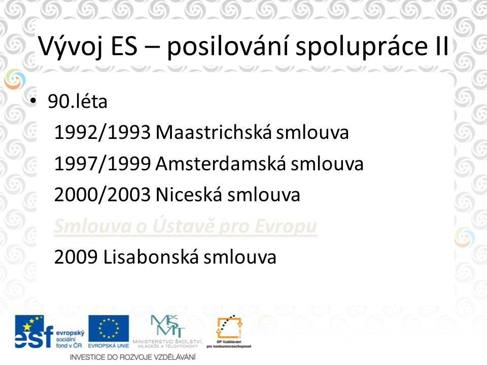 Vývoj ES – posilování spolupráce II 90.léta 1992/1993 Maastrichská smlouva 1997/1999 Amsterdamská smlouva 2000/2003 Niceská smlouva Smlouva o Ústavě p