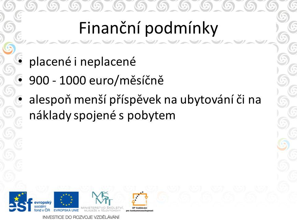 Finanční podmínky placené i neplacené 900 - 1000 euro/měsíčně alespoň menší příspěvek na ubytování či na náklady spojené s pobytem