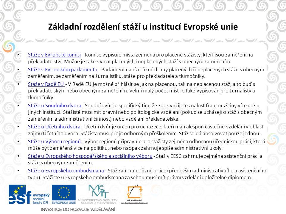Brožura ke stážím http://europa.eu/about-eu/working-eu- institutions/index_cs.htm http://europa.eu/about-eu/working-eu- institutions/index_cs.htm http://europa.eu/epso/index_cs.htm