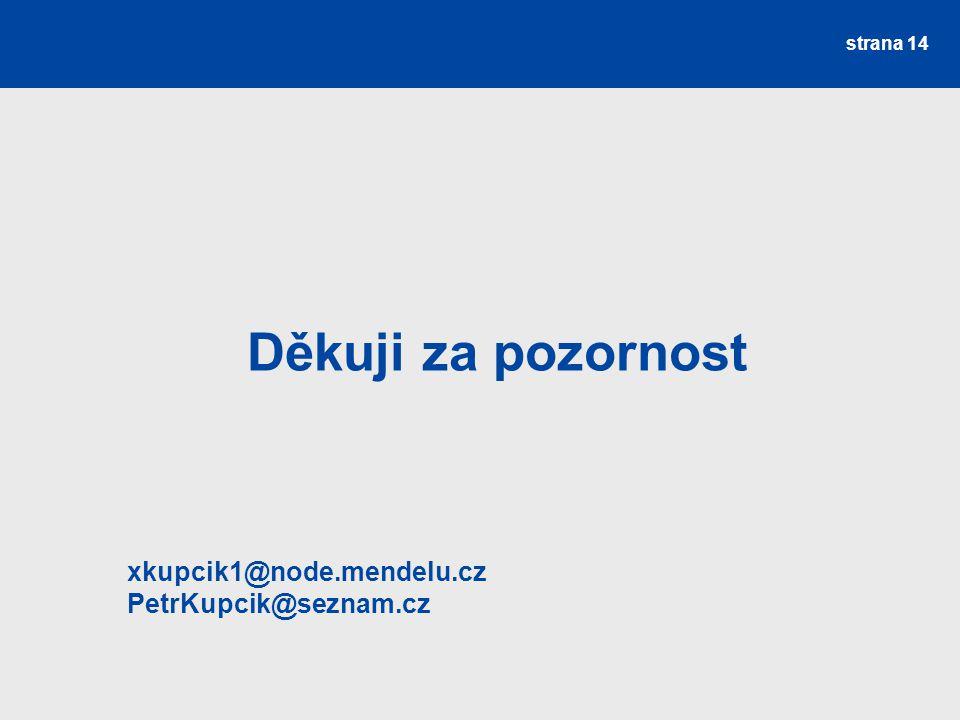 Děkuji za pozornost xkupcik1@node.mendelu.cz PetrKupcik@seznam.cz strana 14