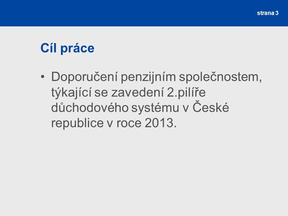 strana 3 Cíl práce Doporučení penzijním společnostem, týkající se zavedení 2.pilíře důchodového systému v České republice v roce 2013.