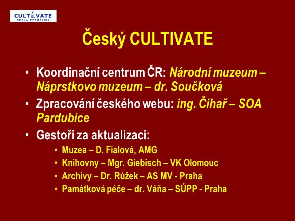 Český CULTIVATE Koordinační centrum ČR: Národní muzeum – Náprstkovo muzeum – dr.