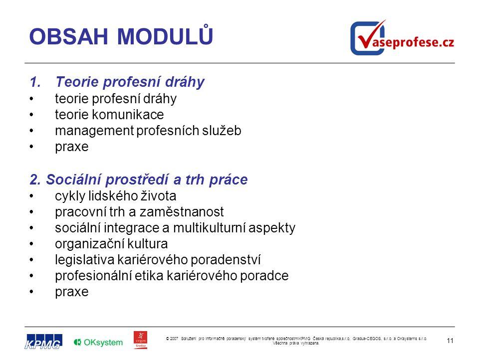 11 © 2007 Sdružení pro Informačně poradenský systém tvořené společnostmiKPMG Česká republika,s.r.o, Gradua-CEGOS, s.r.o.