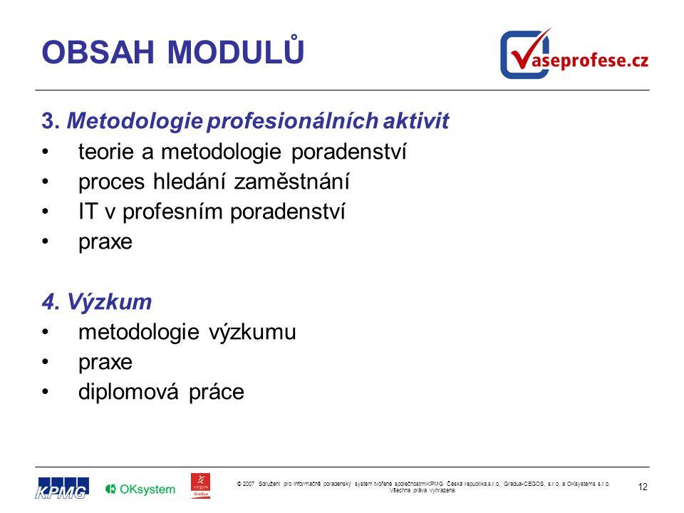 12 © 2007 Sdružení pro Informačně poradenský systém tvořené společnostmiKPMG Česká republika,s.r.o, Gradua-CEGOS, s.r.o. a OKsystems s.r.o. Všechna pr