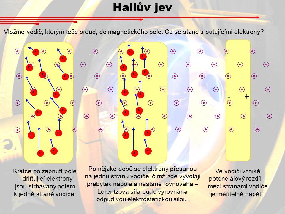 - - - - - - - - - - - - - Hallův jev Vložme vodič, kterým teče proud, do magnetického pole.
