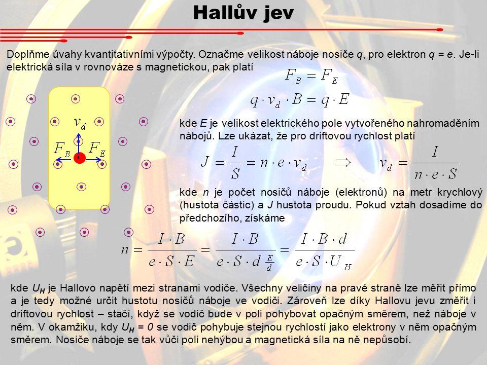 Hallův jev Doplňme úvahy kvantitativními výpočty.