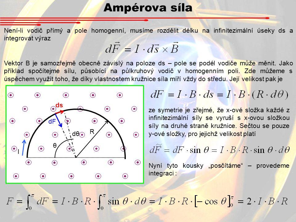 Není-li vodič přímý a pole homogenní, musíme rozdělit délku na infinitezimální úseky ds a integrovat výraz Vektor B je samozřejmě obecně závislý na poloze ds – pole se podél vodiče může měnit.