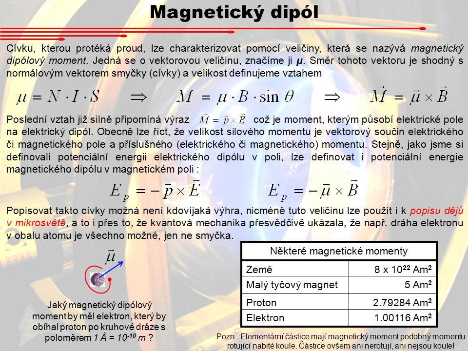 Magnetický dipól Cívku, kterou protéká proud, lze charakterizovat pomocí veličiny, která se nazývá magnetický dipólový moment.