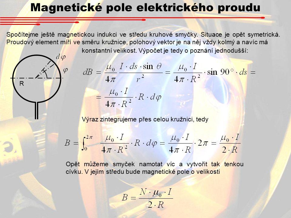 Magnetické pole elektrického proudu Spočítejme ještě magnetickou indukci ve středu kruhové smyčky.