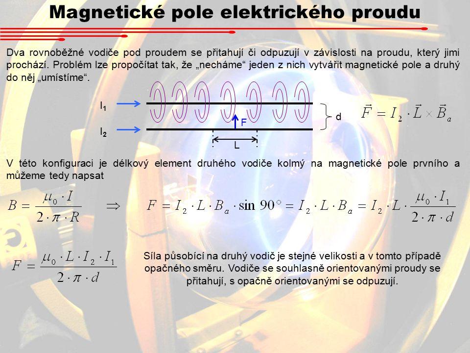 Magnetické pole elektrického proudu Dva rovnoběžné vodiče pod proudem se přitahují či odpuzují v závislosti na proudu, který jimi prochází.