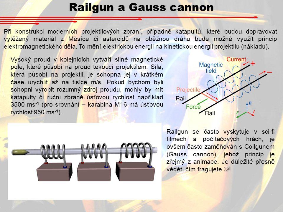Railgun a Gauss cannon Při konstrukci moderních projektilových zbraní, případně katapultů, které budou dopravovat vytěžený materiál z Měsíce či asteroidů na oběžnou dráhu bude možné využít princip elektromagnetického děla.