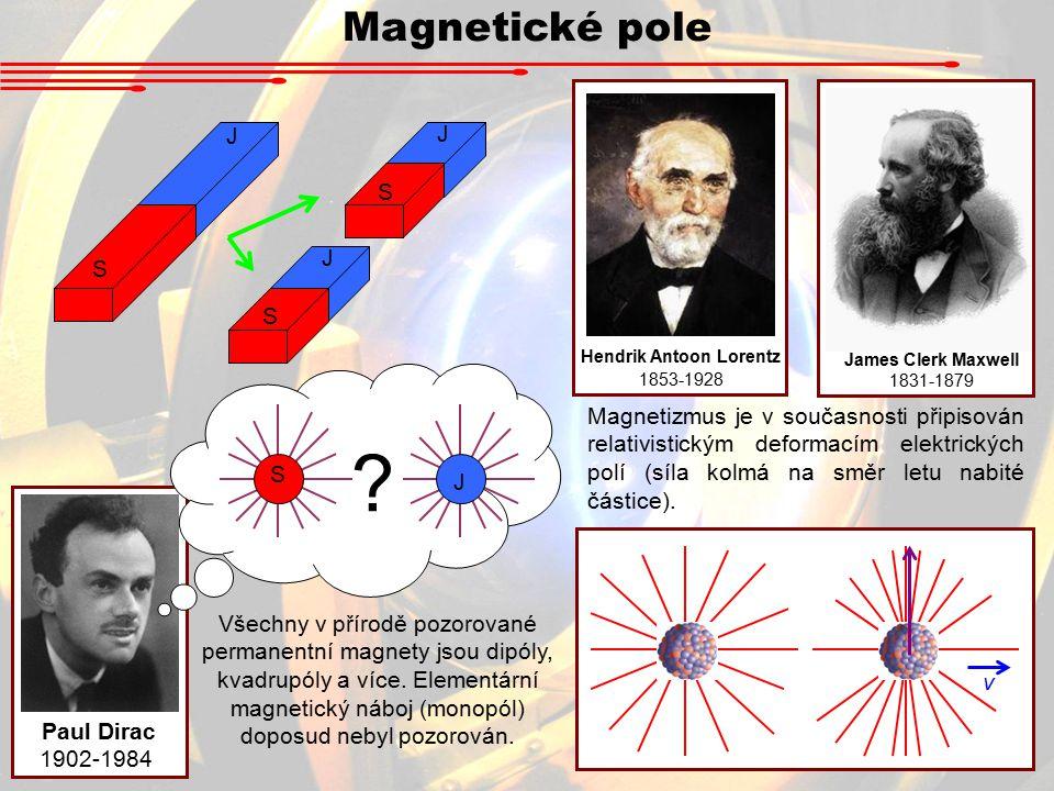 Magnetické pole v Hendrik Antoon Lorentz 1853-1928 James Clerk Maxwell 1831-1879 S J S J S J Paul Dirac 1902-1984 S J .
