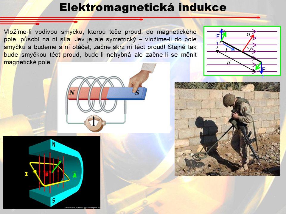 Elektromagnetická indukce Vložíme-li vodivou smyčku, kterou teče proud, do magnetického pole, působí na ní síla.