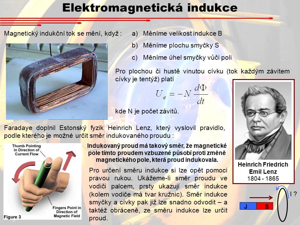 Elektromagnetická indukce Magnetický indukční tok se mění, když :a)Měníme velikost indukce B b)Měníme plochu smyčky S c)Měníme úhel smyčky vůči poli Pro plochou či hustě vinutou cívku (tok každým závitem cívky je tentýž) platí kde N je počet závitů.