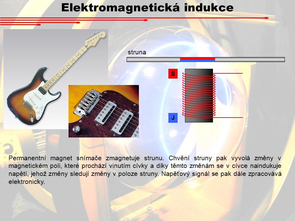 Elektromagnetická indukce struna S J Permanentní magnet snímače zmagnetuje strunu.