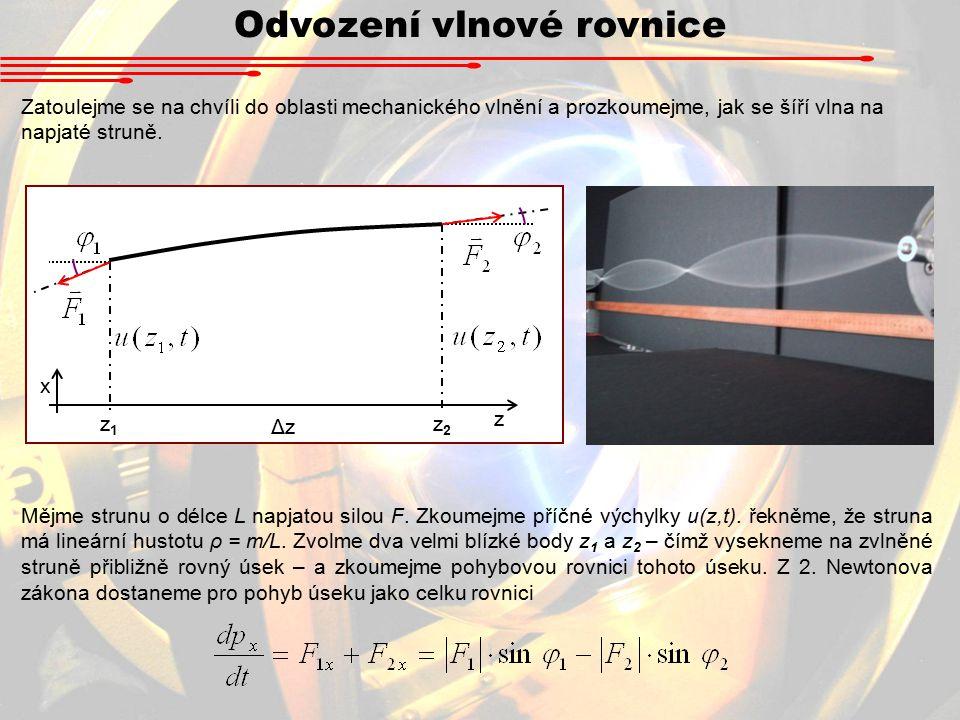 Odvození vlnové rovnice Zatoulejme se na chvíli do oblasti mechanického vlnění a prozkoumejme, jak se šíří vlna na napjaté struně.