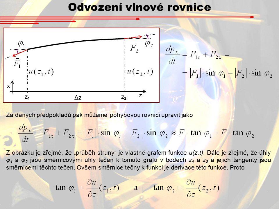 """Odvození vlnové rovnice Za daných předpokladů pak můžeme pohybovou rovnici upravit jako z1z1 z2z2 ΔzΔz z x Z obrázku je zřejmé, že """"průběh struny je vlastně grafem funkce u(z,t)."""
