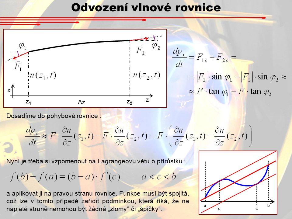 Odvození vlnové rovnice Dosadíme do pohybové rovnice : z1z1 z2z2 ΔzΔz z x Nyní je třeba si vzpomenout na Lagrangeovu větu o přírůstku : ab cc a aplikovat ji na pravou stranu rovnice.
