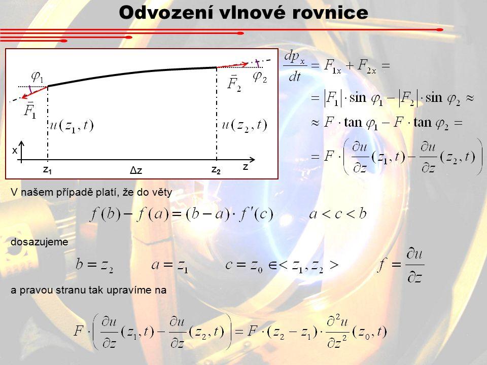 Odvození vlnové rovnice V našem případě platí, že do věty z1z1 z2z2 ΔzΔz z x dosazujeme a pravou stranu tak upravíme na