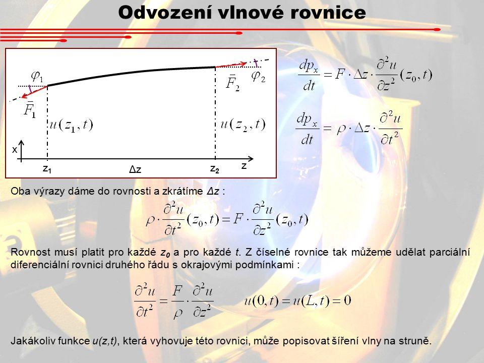 Odvození vlnové rovnice Oba výrazy dáme do rovnosti a zkrátíme Δz : z1z1 z2z2 ΔzΔz z x Rovnost musí platit pro každé z 0 a pro každé t.