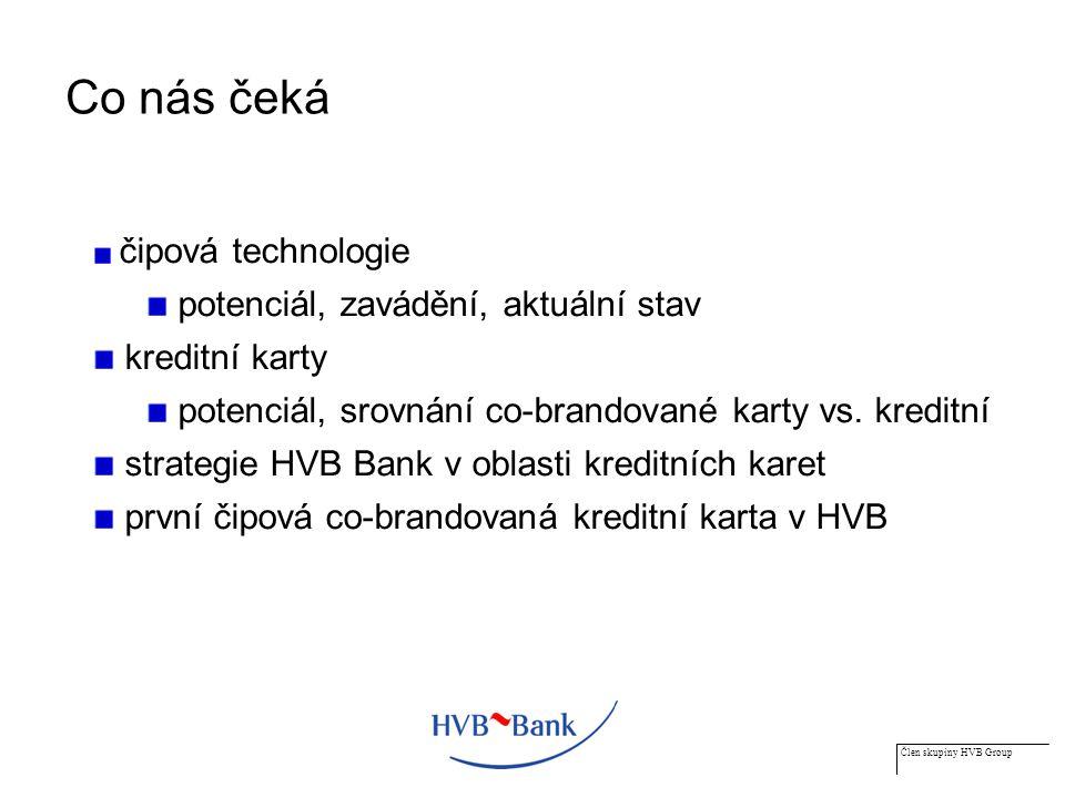 Člen skupiny HVB Group Potenciál pro prodej kreditních karet v regionu střední a východní Evropy (2/2) Závěry z předcházejícího grafu penetrace kreditních karet (počet karet/obyvatelstvo) v západní Evropě je dnes 5x větší než ve střední a východní Evropě (20 % vs.