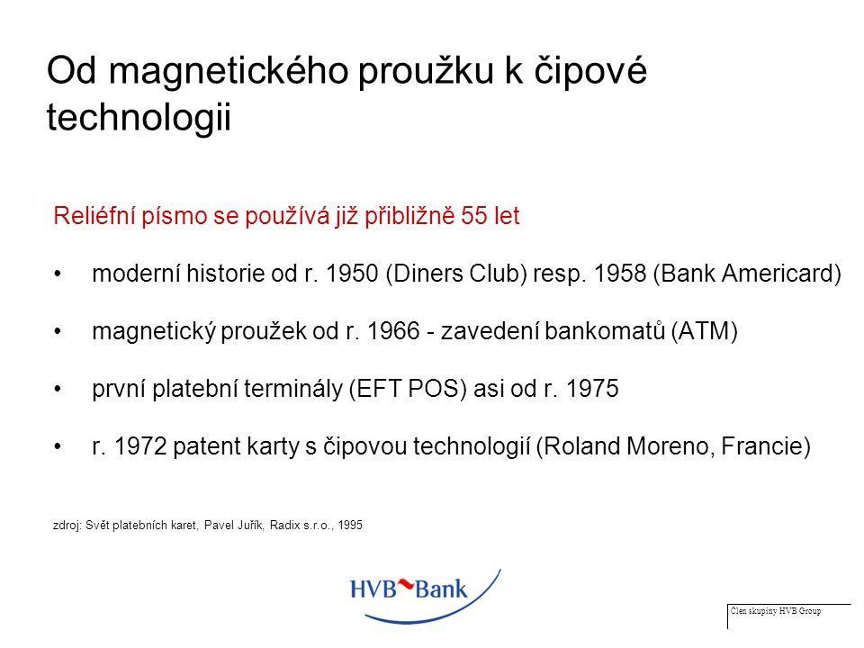 Člen skupiny HVB Group Od magnetického proužku k čipové technologii Reliéfní písmo se používá již přibližně 55 let moderní historie od r.