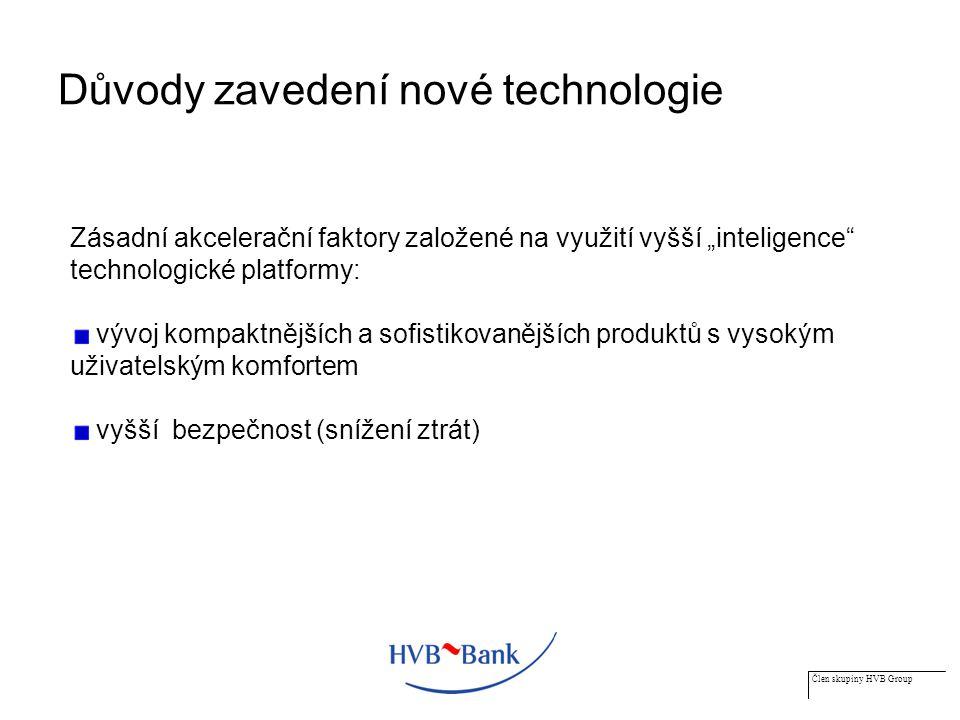 """Člen skupiny HVB Group Důvody zavedení nové technologie Zásadní akcelerační faktory založené na využití vyšší """"inteligence technologické platformy: vývoj kompaktnějších a sofistikovanějších produktů s vysokým uživatelským komfortem vyšší bezpečnost (snížení ztrát)"""