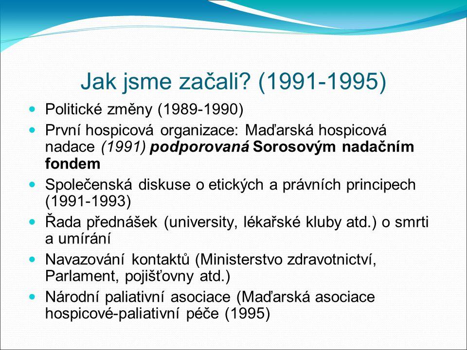Jak jsme začali? (1991-1995) Politické změny (1989-1990) První hospicová organizace: Maďarská hospicová nadace (1991) podporovaná Sorosovým nadačním