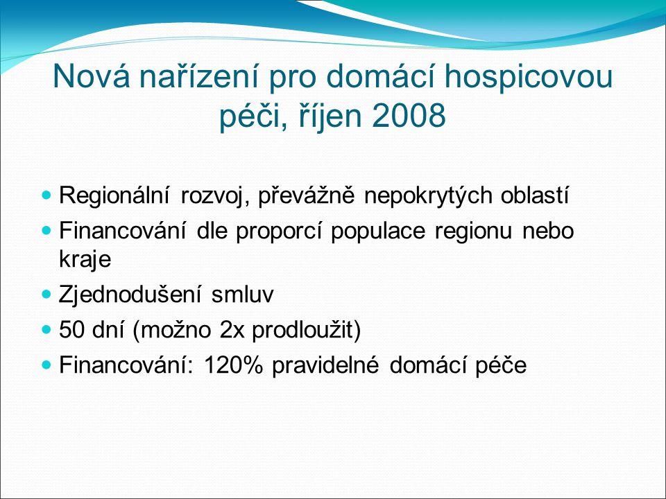 Nová nařízení pro domácí hospicovou péči, říjen 2008 Regionální rozvoj, převážně nepokrytých oblastí Financování dle proporcí populace regionu nebo kraje Zjednodušení smluv 50 dní (možno 2x prodloužit) Financování: 120% pravidelné domácí péče