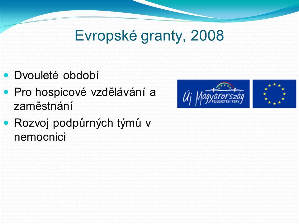 Evropské granty, 2008 Dvouleté období Pro hospicové vzdělávání a zaměstnání Rozvoj podpůrných týmů v nemocnici