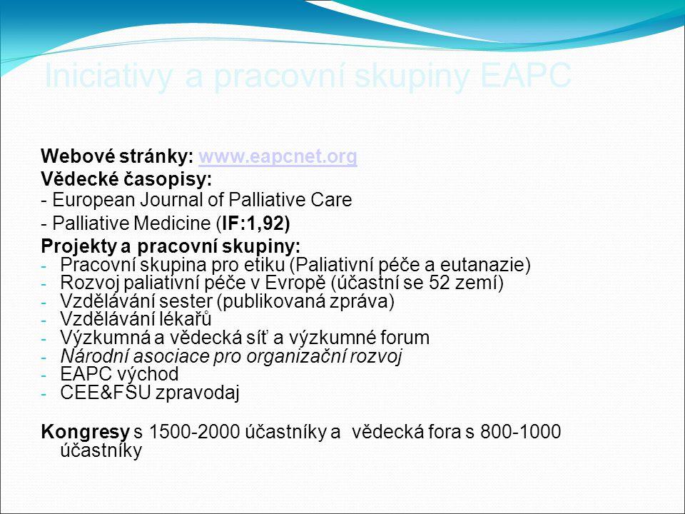 Iniciativy a pracovní skupiny EAPC Webové stránky: www.eapcnet.orgwww.eapcnet.org Vědecké časopisy: - European Journal of Palliative Care - Palliative Medicine (IF:1,92) Projekty a pracovní skupiny: - Pracovní skupina pro etiku (Paliativní péče a eutanazie) - Rozvoj paliativní péče v Evropě (účastní se 52 zemí) - Vzdělávání sester (publikovaná zpráva) - Vzdělávání lékařů - Výzkumná a vědecká síť a výzkumné forum - Národní asociace pro organizační rozvoj - EAPC východ - CEE&FSU zpravodaj Kongresy s 1500-2000 účastníky a vědecká fora s 800-1000 účastníky