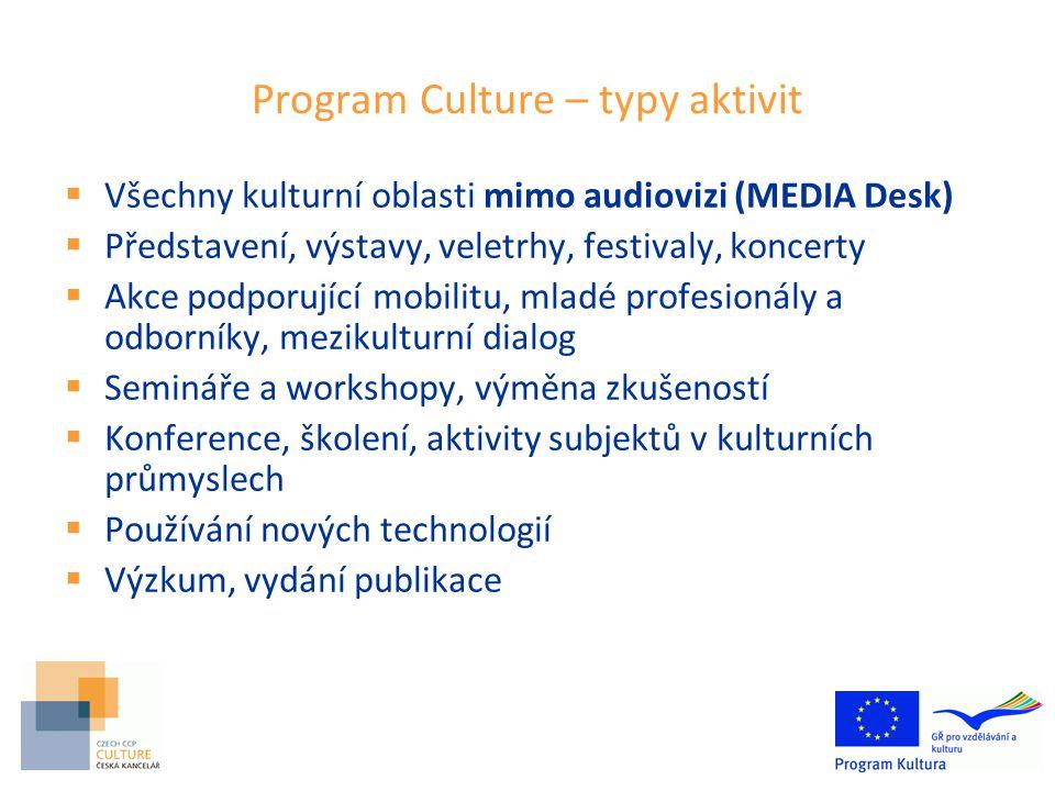 Program Culture – typy aktivit  Všechny kulturní oblasti mimo audiovizi (MEDIA Desk)  Představení, výstavy, veletrhy, festivaly, koncerty  Akce podporující mobilitu, mladé profesionály a odborníky, mezikulturní dialog  Semináře a workshopy, výměna zkušeností  Konference, školení, aktivity subjektů v kulturních průmyslech  Používání nových technologií  Výzkum, vydání publikace