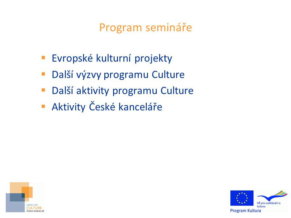 Program semináře  Evropské kulturní projekty  Další výzvy programu Culture  Další aktivity programu Culture  Aktivity České kanceláře