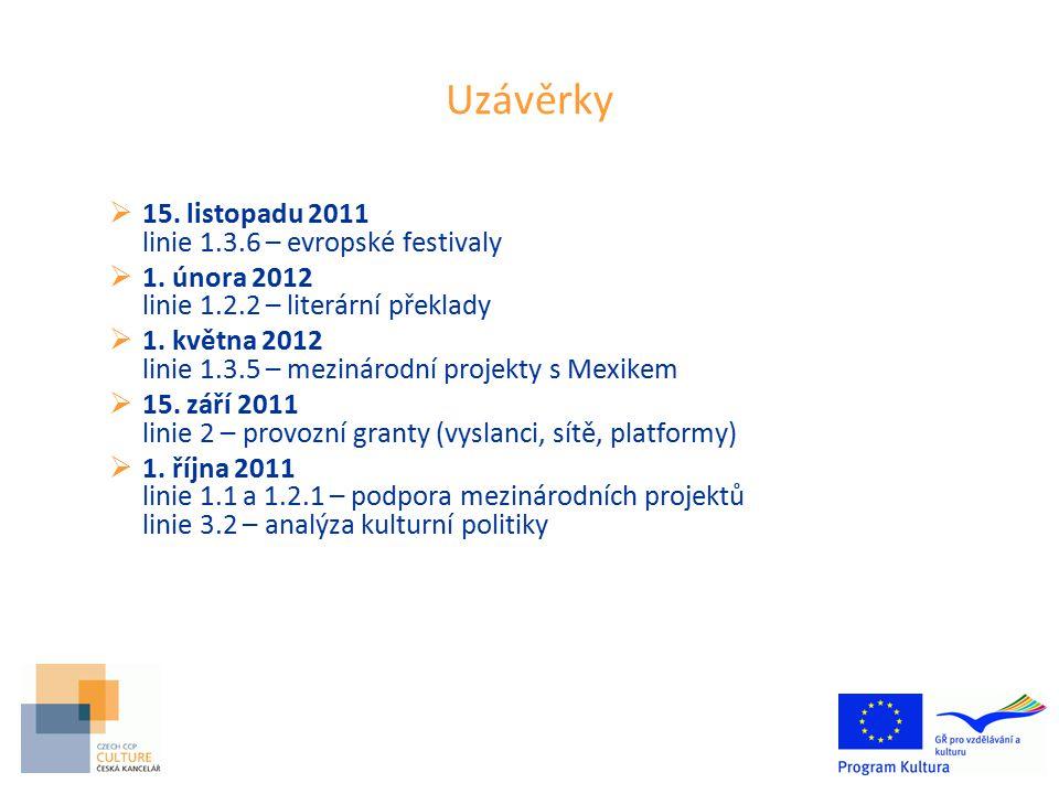 Uzávěrky  15.listopadu 2011 linie 1.3.6 – evropské festivaly  1.