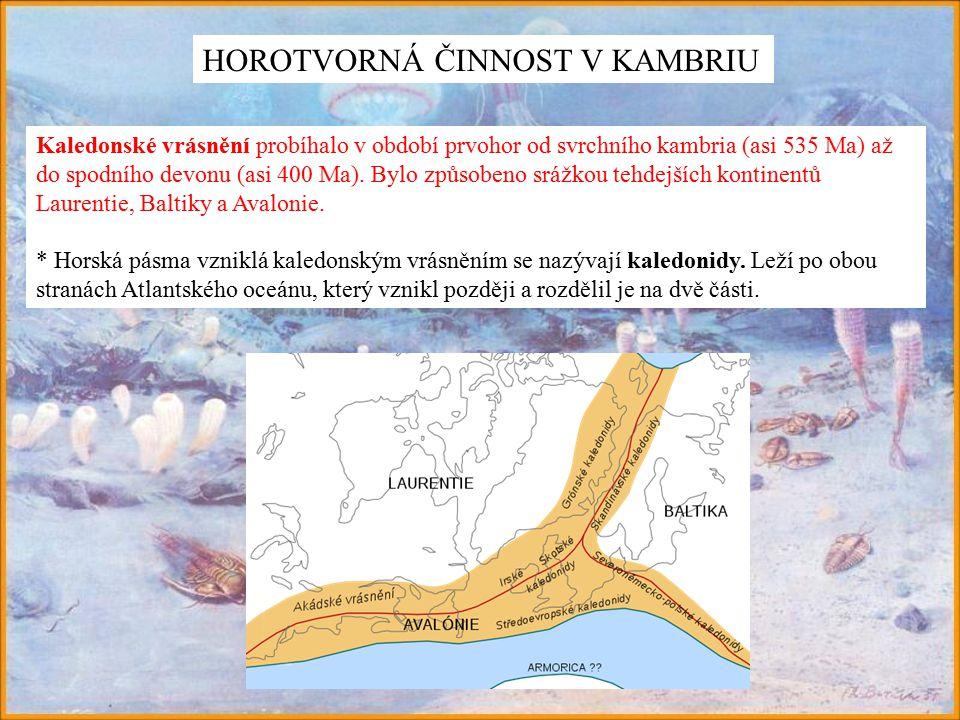 Kaledonské vrásnění probíhalo v období prvohor od svrchního kambria (asi 535 Ma) až do spodního devonu (asi 400 Ma).