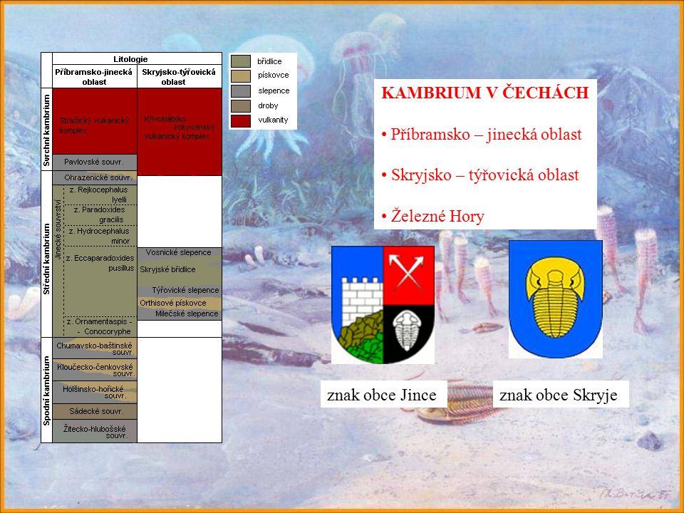 KAMBRIUM V ČECHÁCH Příbramsko – jinecká oblast Skryjsko – týřovická oblast Železné Hory znak obce Skryjeznak obce Jince