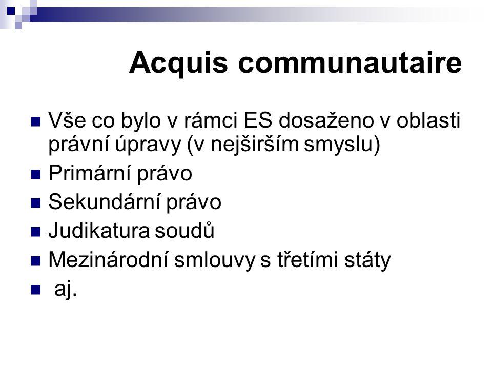 Acquis communautaire Vše co bylo v rámci ES dosaženo v oblasti právní úpravy (v nejširším smyslu) Primární právo Sekundární právo Judikatura soudů Mez