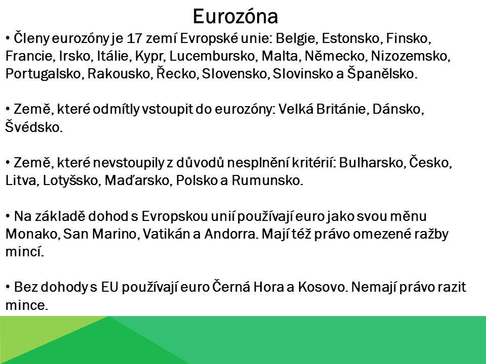 modrá - členské státy eurozóny zelená - státy EU, které vstoupí do eurozóny po roce 2011 hnědá - státy EU s trvalou výjimkou na zavedení eura žlutá - státy mimo EU, které používají euro po dohodě s EU fialová - státy a území mimo EU, které používají euro bez dohody s EU EUROZÓNA - MAPA