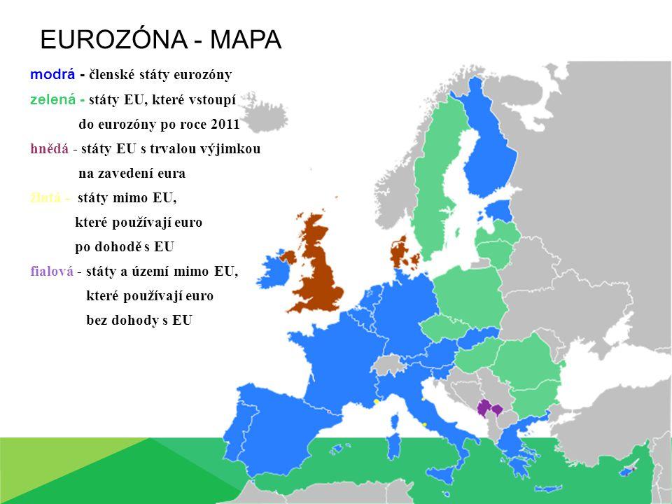 modrá - členské státy eurozóny zelená - státy EU, které vstoupí do eurozóny po roce 2011 hnědá - státy EU s trvalou výjimkou na zavedení eura žlutá -