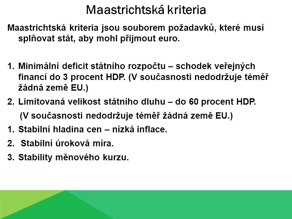 Maastrichtská kriteria jsou souborem požadavků, které musí splňovat stát, aby mohl přijmout euro. 1.Minimální deficit státního rozpočtu – schodek veře