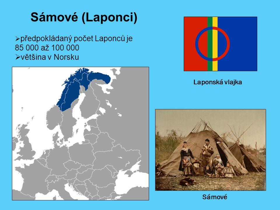 Laponská vlajka  předpokládaný počet Laponců je 85 000 až 100 000  většina v Norsku Sámové (Laponci) Sámové