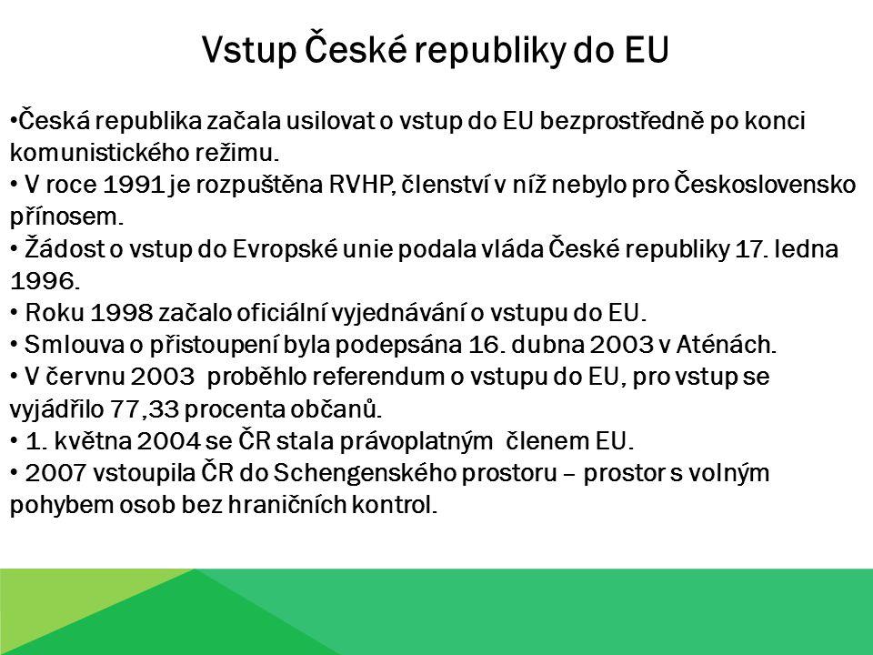 Vstup České republiky do EU Česká republika začala usilovat o vstup do EU bezprostředně po konci komunistického režimu. V roce 1991 je rozpuštěna RVHP